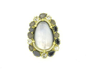 thumbnail image of Judith Ripka Mother of Pearl Diamond Moonstone Gold Quartz Large Ring