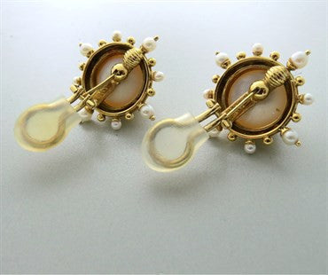 image of Elizabeth Locke 18k Gold Pearl Earrings
