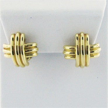image of Estate Tiffany & Co Classic X 18K Gold Earrings