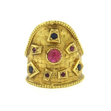 image of Ilias Lalaounis Sapphire Ruby 18k Gold Ring