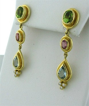 thumbnail image of New Temple St Clair 18K Peridot Tourmaline Aquamarine Diamond Earrings