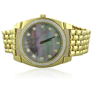 thumbnail image of Rolex Cellini Cestello 18K Gold Diamond MOP Watch 6321 2 All Factory