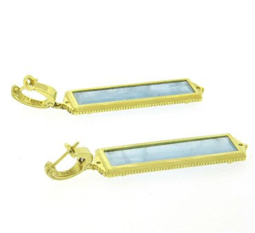 thumbnail image of Judith Ripka Blue Gemstone Diamond 18k Gold Drop Earrings