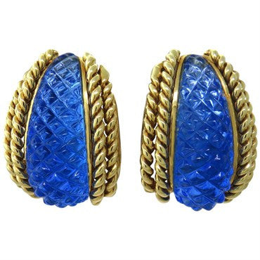 thumbnail image of Sabbadini 18k Gold Carved Crystal Earrings