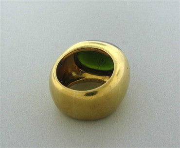 thumbnail image of Pomellato 18K Gold Green Tourmaline Cabochon Ring