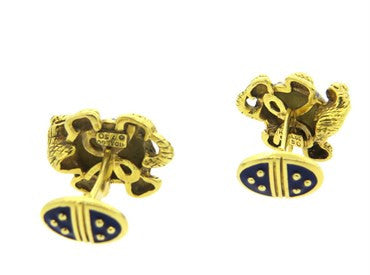 image of Large Hidalgo Enamel 18k Gold Turtle Cufflinks