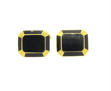 thumbnail image of Large Deakin & Francis Black Enamel and 18k Gold Cufflinks