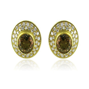 image of Estate 18k Gold Kieselstein Cord Beryl Diamond Earrings
