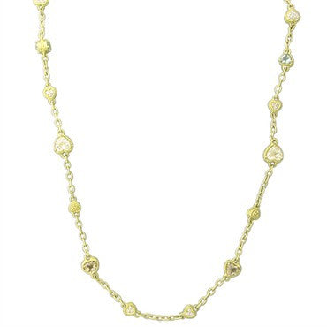 image of Judith Ripka 18K Gold Diamond Crystal Heart Motif Necklace 64.8g