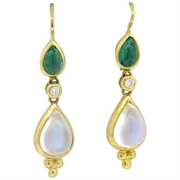 thumbnail image of New Temple St. Clair Moonstone Emerald Diamond 18k Gold Drop Earrings