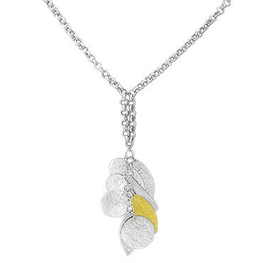 image of New Gurhan 24K Gold Sterling Silver Willow Drop Pendant Long Necklace