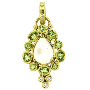 image of Temple St. Clair Moonstone Peridot Diamond 18k Gold Pendant