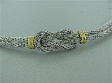 thumbnail image of Estate Fred Of Paris Force 10 Steel Cable 18k Necklace Gold