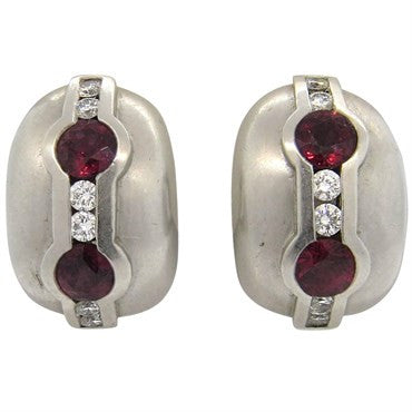 image of Kieselstein Cord Platinum Ruby Diamond Earrings