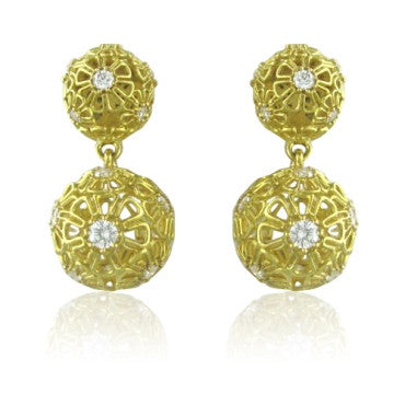 image of Paul Morelli Flower 18k Gold Diamond Earrings