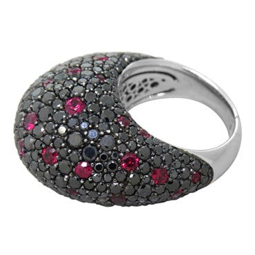 image of Ruby Black Diamond 18k Gold Dome Ring