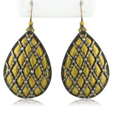 image of New Gurhan Capitone Collection 24K Gold Diamond Teardrop Earrings