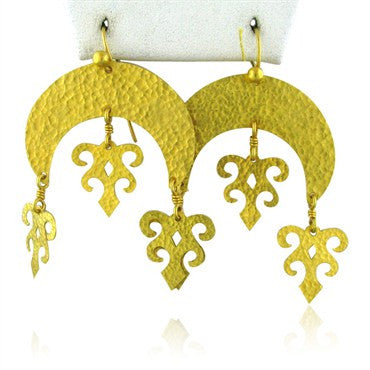 image of New Gurhan Afghan Large Crescent 24k Gold Drop Earrings