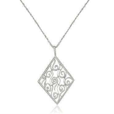 image of Cathy Waterman Platinum Diamond Large Pendant Necklace