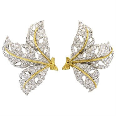 thumbnail image of Buccellati 2.40ctw Diamond 18k Gold Large Leaf Earrings
