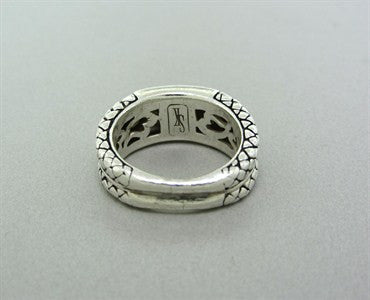 image of Estate Scott Kay Sterling Silver Diamond Heart Ring
