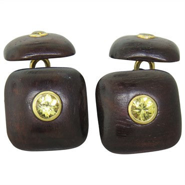 thumbnail image of Trianon Wood Yellow Sapphire Gold Cufflinks