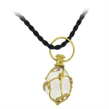 image of Temple St. Clair Crystal Diamond Gold Vine Amulet Pendant Cord Necklac
