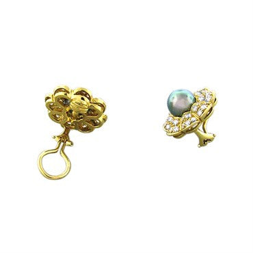 image of New Gumuchian 18K Gold 2.55ctw Diamond Black Pearl Earrings