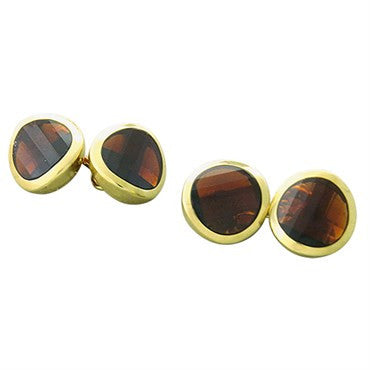 New Pomellato 18k Gold Garnet Cufflinks