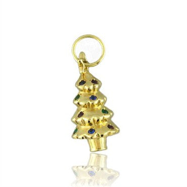 thumbnail image of Tiffany & Co 18k Gold Gemstone Christmas Tree Charm