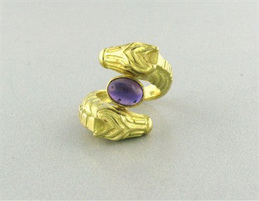 thumbnail image of Estate Judith Leiber 18K Gold Amethyst Horse Motif Ring