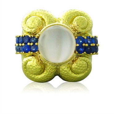 image of Impressive David Webb 18K Yellow Gold Moonstone Sapphire Cocktail Ring