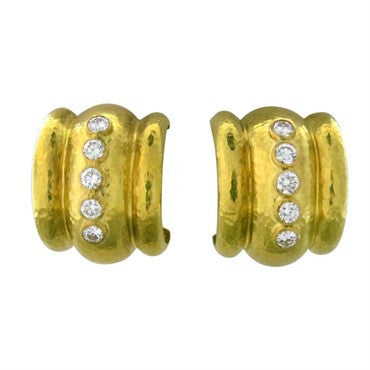 image of Elizabeth Locke 19k Gold Diamond Amalfi Hoop Earrings