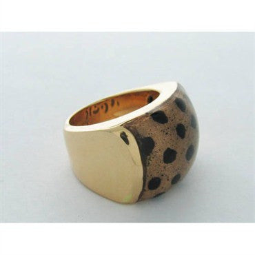 image of Soho Jaguar 18k Gold Enamel Ring