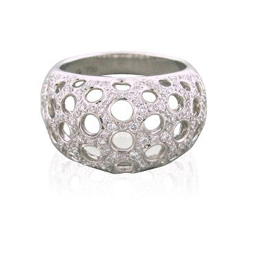 image of New Gumuchian 18K White Gold Diamond Open Honeycomb Ring