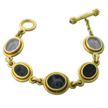 thumbnail image of Elizabeth Locke Intaglio Glass Onyx Animal Motif Toggle Bracelet