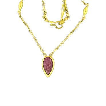 image of New Gurhan 24k Gold 9.40ct Carved Ruby Necklace