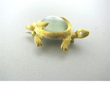 thumbnail image of Dunay 18k Gold Platinum Moon St. Diamond Turtle Brooch