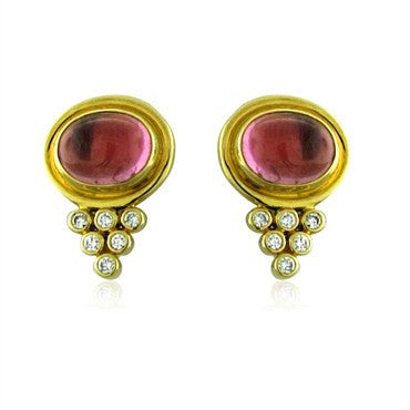 image of New Temple St. Clair 18K Gold Pink Tourmaline Diamond Earrings