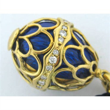 image of Faberge 18k Gold Enamel Diamond Egg Pendant Charm