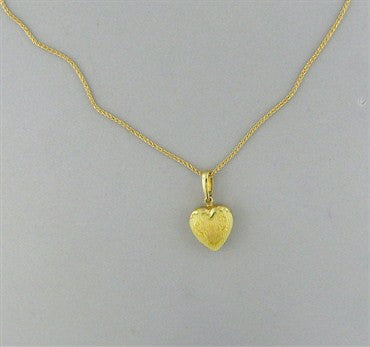 image of Faberge 18K Gold Yellow Enamel Heart Pendant Necklace