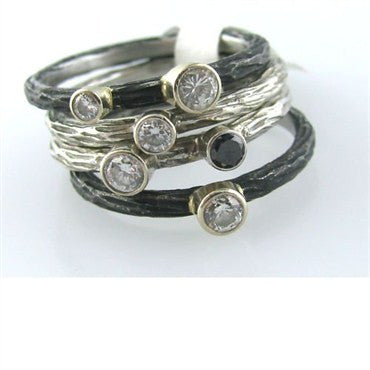 image of Sarah Graham 18k Gold Steel Stackable Diamond Rings