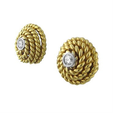 thumbnail image of Tiffany & Co 18K Yellow Gold Rope Diamond Stud Earrings