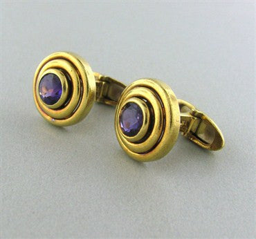 thumbnail image of Estate Tiffany & Co 18K Gold Amethyst Cufflinks
