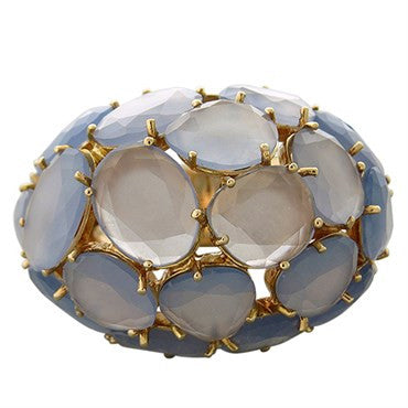 thumbnail image of New Pomellato Capri 18k Gold Chalcedony Large Dome Ring
