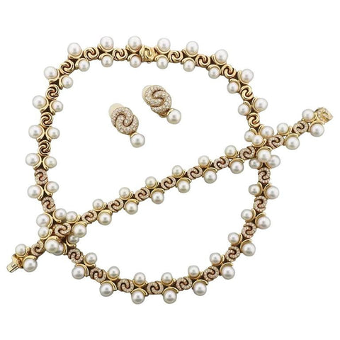 Marina B Pearl Diamond Gold Necklace Bracelet Earrings Set
