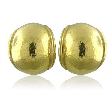 image of Elizabeth Locke Hammered Finish 18K Yellow Gold Dome Earrings