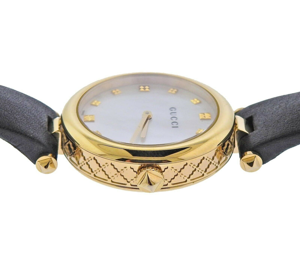 thumbnail image of Gucci Diamantissima Gold Tone Mother of Pearl Watch YA141404
