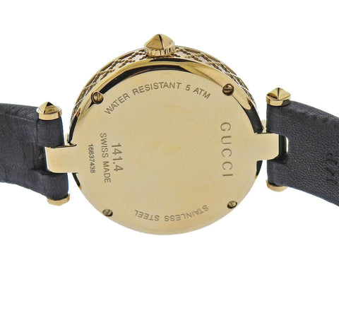 image of Gucci Diamantissima Gold Tone Mother of Pearl Watch YA141404