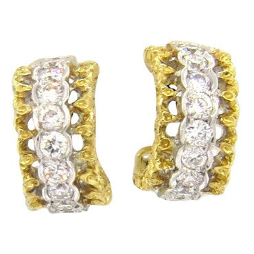 thumbnail image of Mario Buccellati Diamond 18k Gold Hoop Earrings